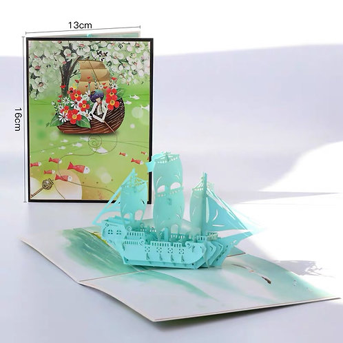 Colourful boat pop up card