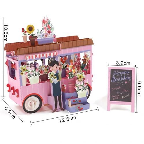Birthday flower car pop up card