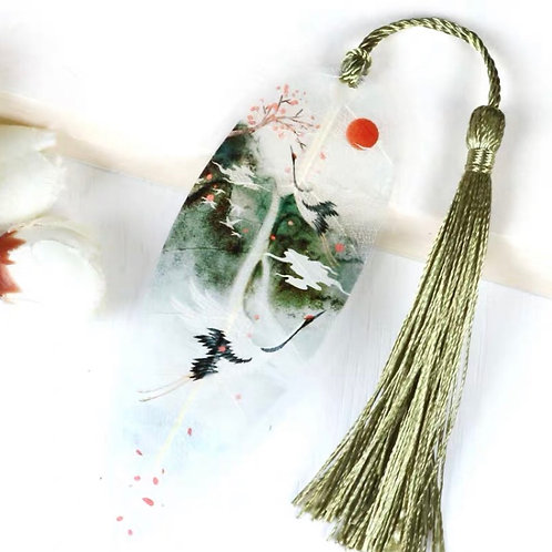 Leaf bookmark - crane style 3