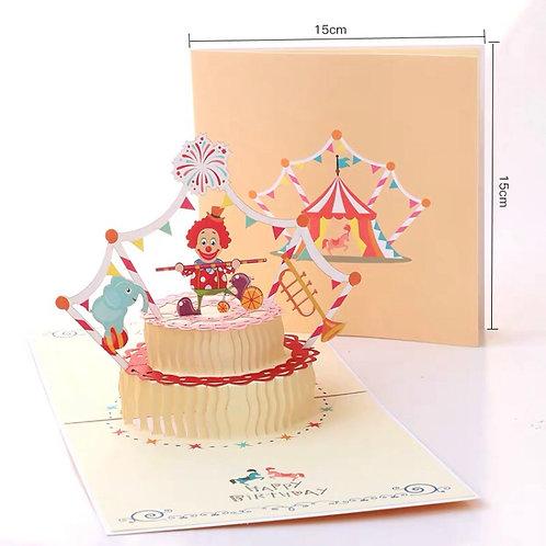 Happy birthday pop up cards - clown