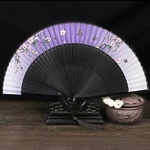 Elegant Fan - Purple + butterfly
