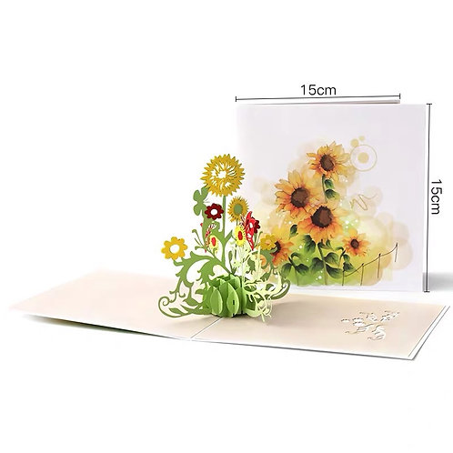 Colourful sunflower pop up card