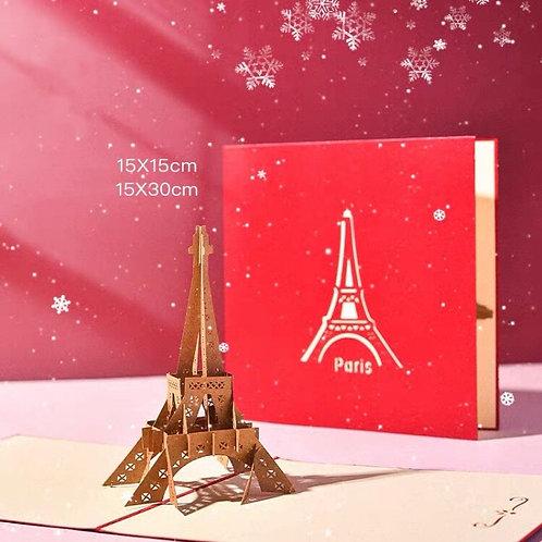 Romantic Paris Eiffel Tower pop up card