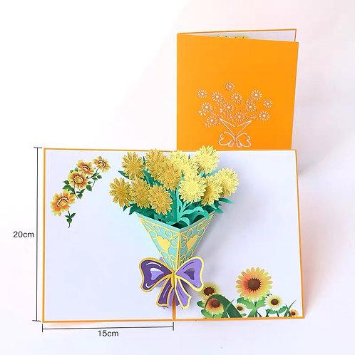 Sunflower bouquet pop up card