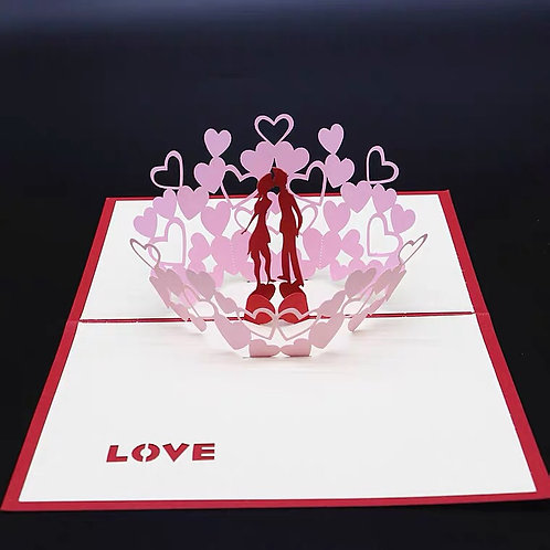 Kissing couple pop up card