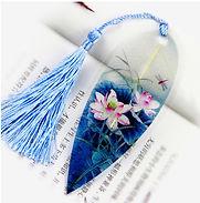 Leaf bookmark Lotus flower with dragonfl