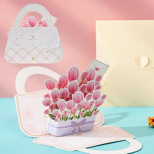 Flower handbag pop up card-tulip