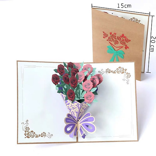 Rose bouquet pop up card style 2