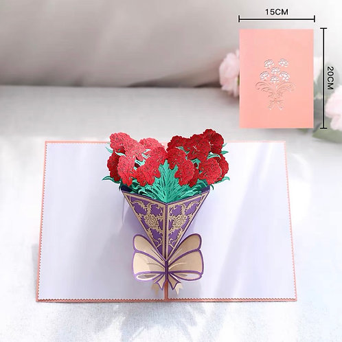 Carnation bouquet pop up card style 2