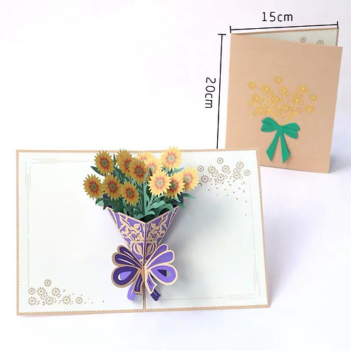 Sunflower bouquet pop up card style 2