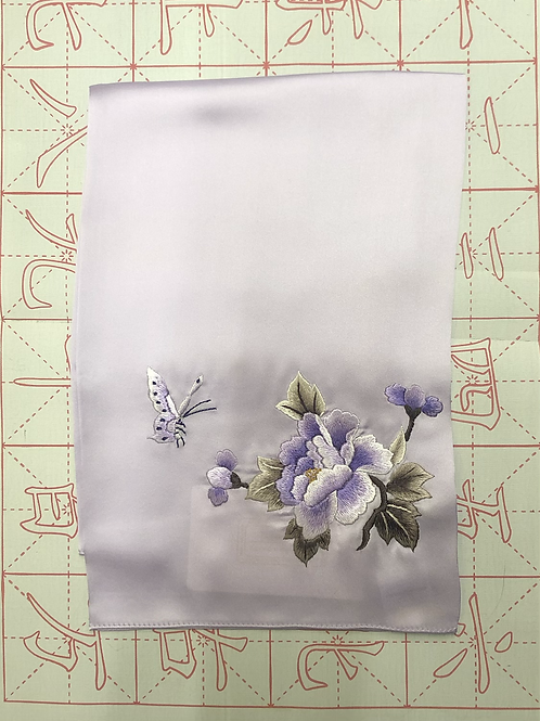 Double sided silk embroidery scarf - peony lavender