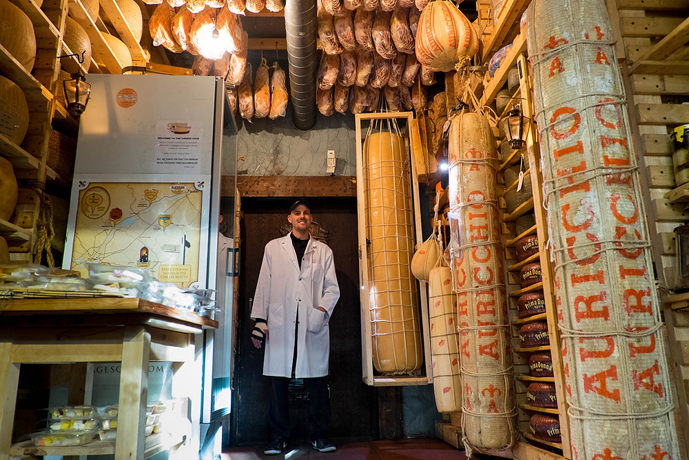 Maître Fromager Afrim Pristine in his Cheese Vault