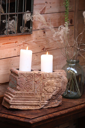 Reclaimed pillar candle holder (No:11)