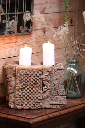 Reclaimed pillar candle holder (No:12)