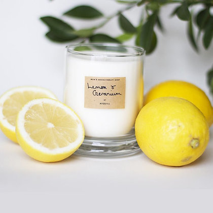 Lemon and Geranium scented candle by AEQUILL