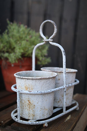 Rustic plant pots and holder