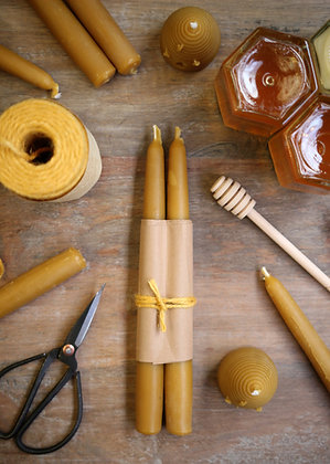 2 x pure beeswax candle sticks