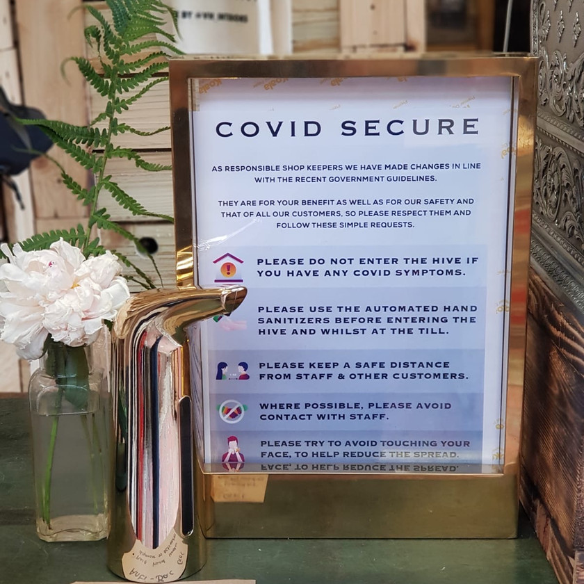 Framed covid secure rules for the hive in Altrincham.