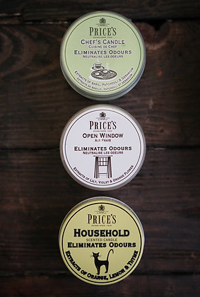 3 x Price's Odour Eliminating Candles