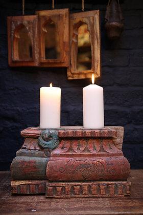 Reclaimed pillar candle holder