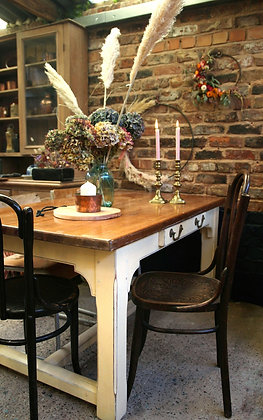 Pine kitchen dining table with painted legs