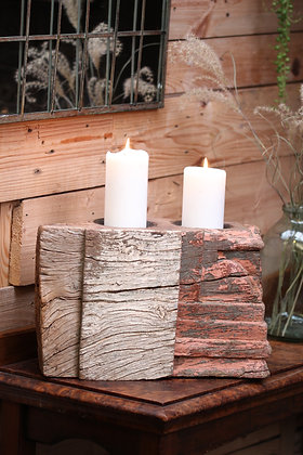 Reclaimed pillar candle holder (No:9)