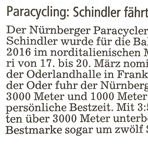 Paracycling: Schindler fährt zur WM