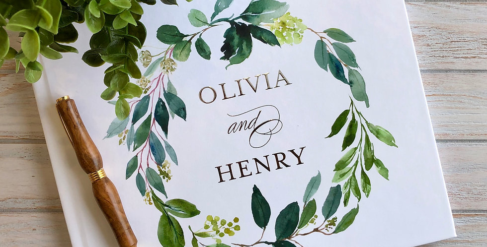 Greenery Wedding Guest Book, Gold Foil Wedding Guest Book