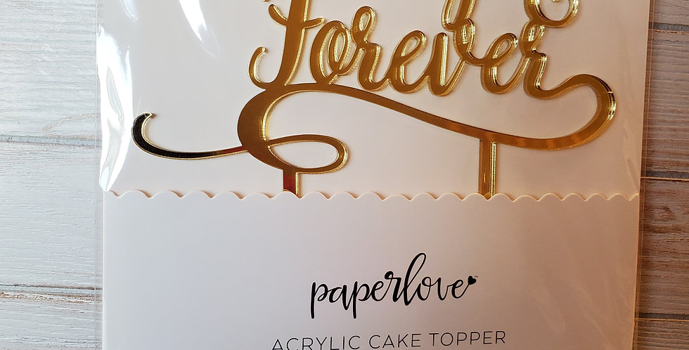"""""""ALWAYS & FOREVER"""" Acrylic Gold Cake Topper"""