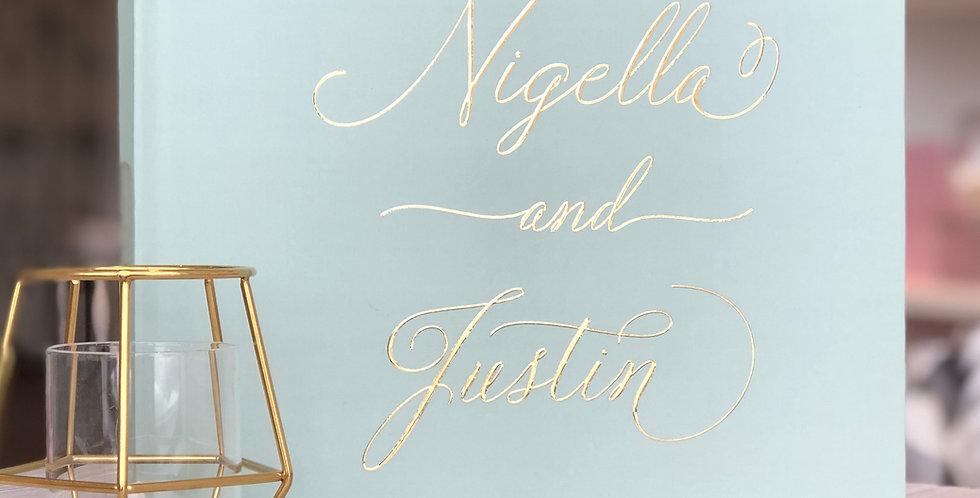 Luxurious Sage Green Wedding Guest Book, Gold Foil Wedding Guest Book