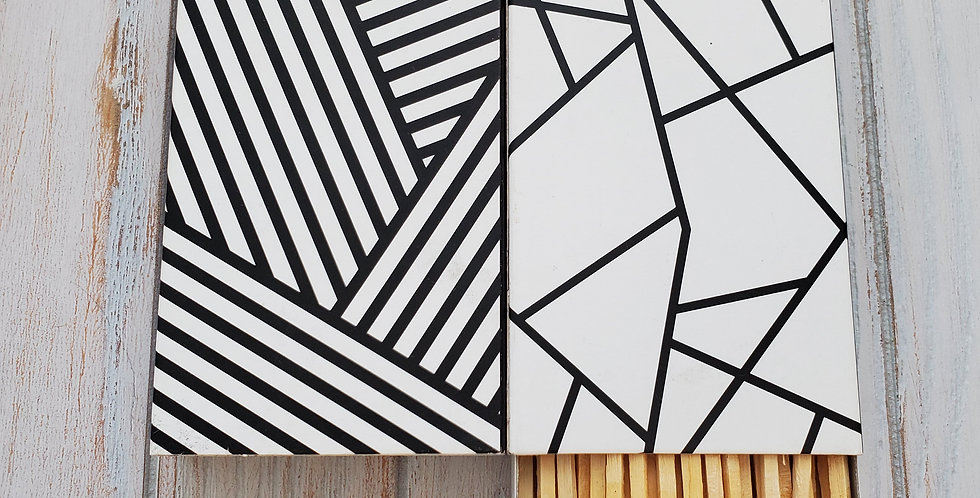 Bold & White Geometric Stripes -Large Match Boxes