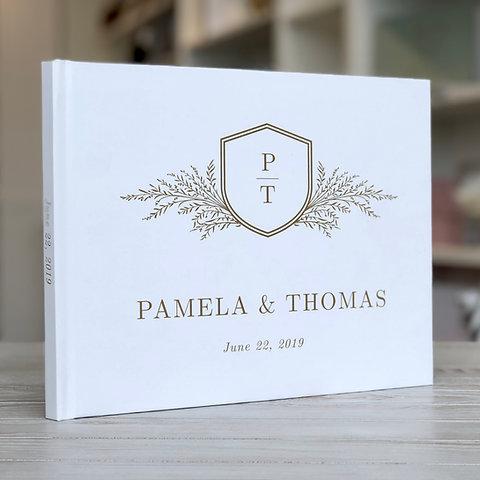 Monogram Crest Wedding Guest Book Guestbook Custom