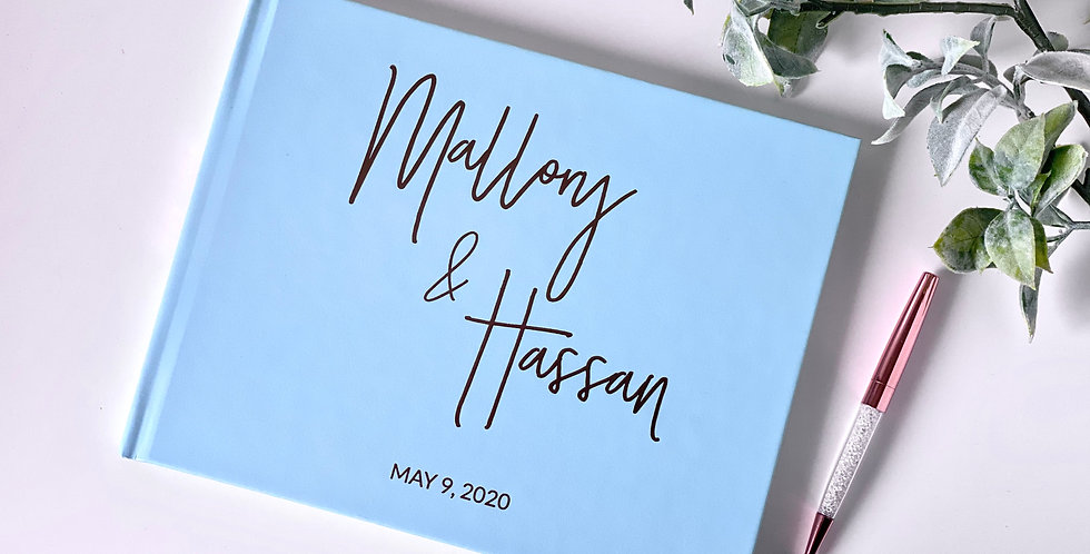 Fancy Calligraphy Guest Book, Mint Wedding Guestbook, Custom Guest Book