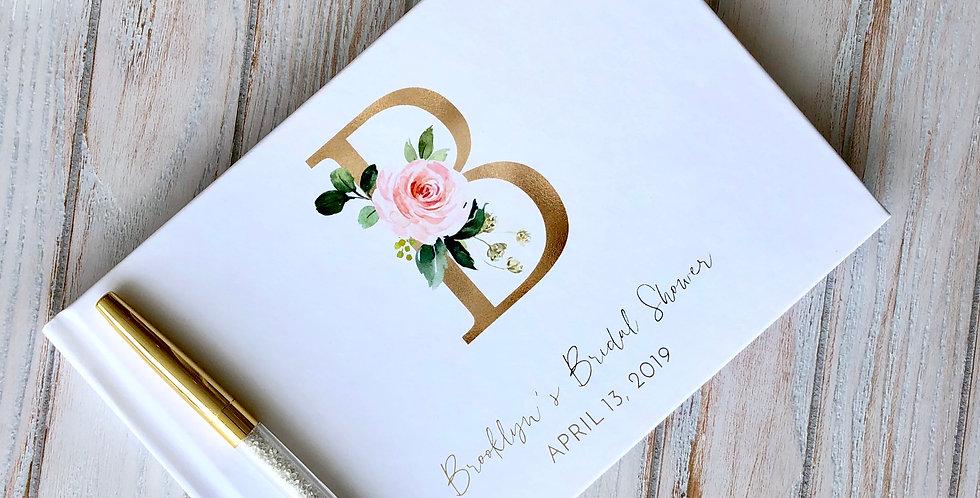 Floral Monogram Bridal Shower Guest Book, Bridal Shower Guestbook