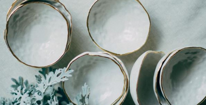 22K gold Ceramic Ring Bowls