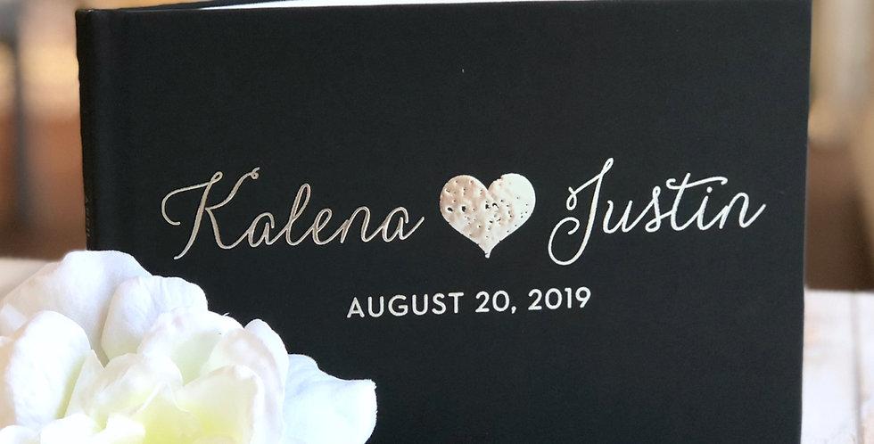 Love/Heart Wedding Guest Book, Gold Foil Wedding Guest Book