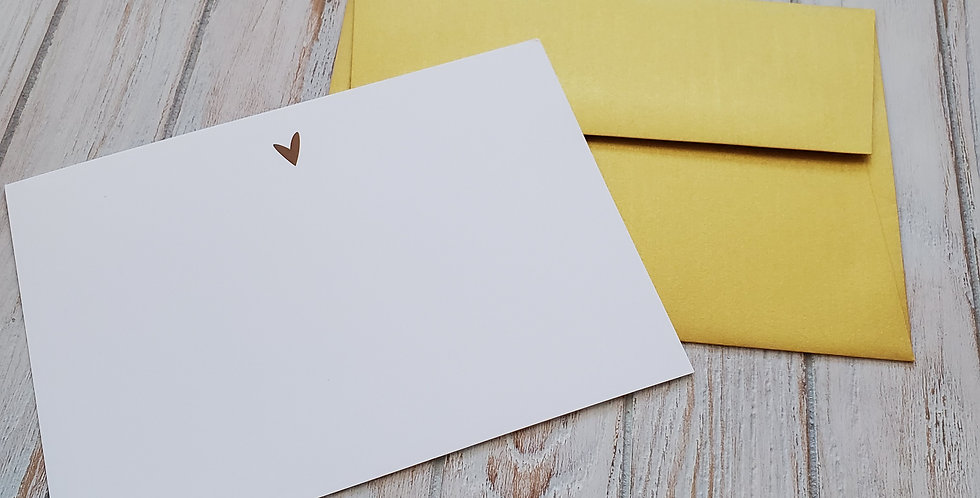 Gold Heart Stationery-Note card set