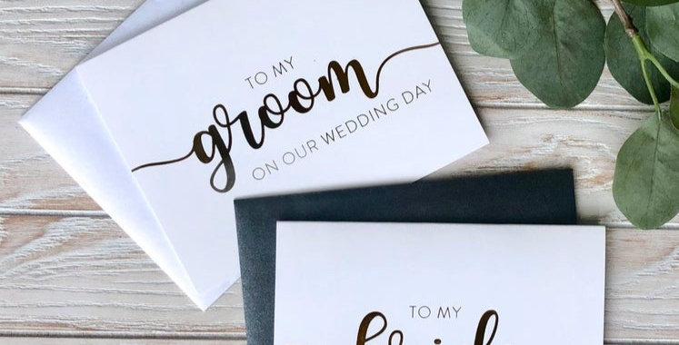 Set of Bride and Groom Thank you card set