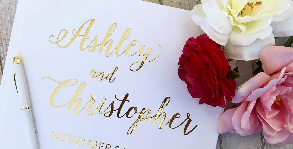 Fun Gold Wedding Guest Book, Gold Foil Wedding Guest Book