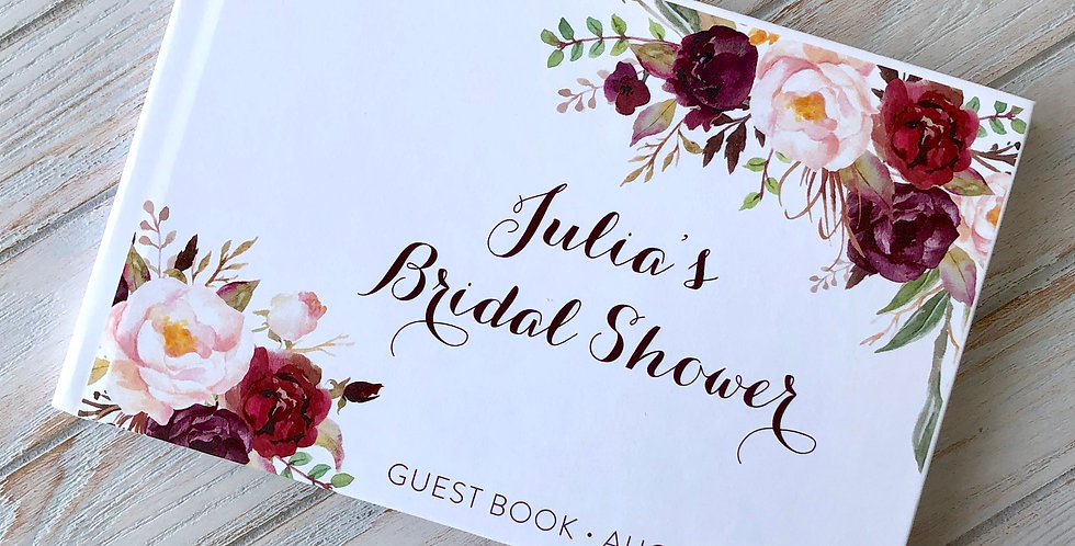 Fall Flowers Bridal Shower Guest Book, Bridal Shower Guestbook