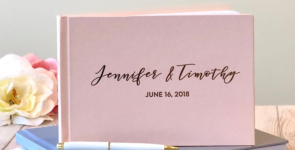 Romantic Blush Wedding Guest Book, Gold Foil Wedding Guest Book