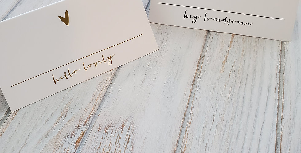 Hey Handsome & Hello Lovely Place cards