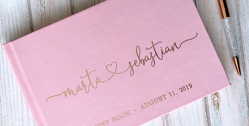 Romantic Dusty Rose Wedding Guest Book, Gold Foil Wedding Guest Book