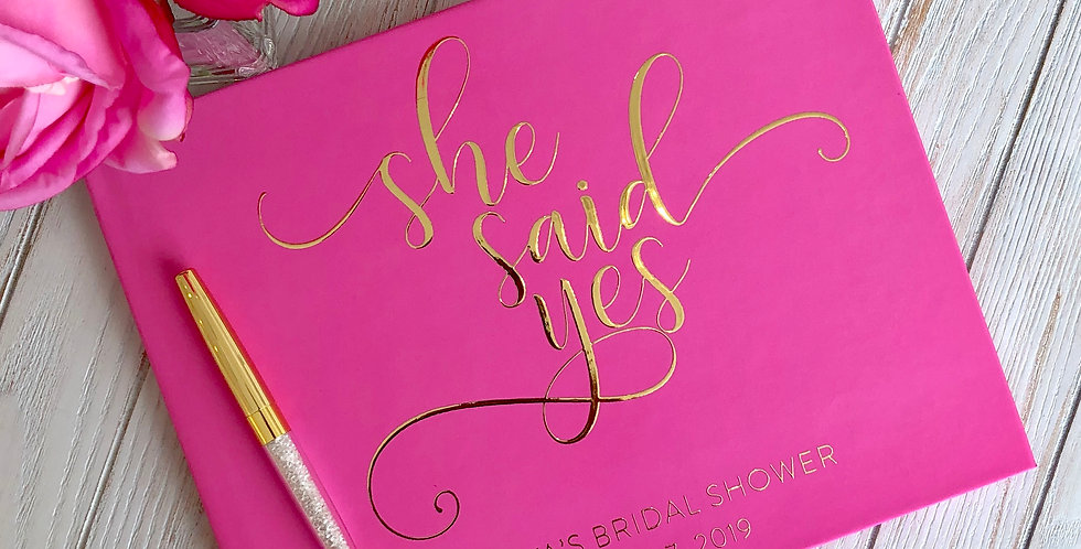 She Said Yes! Hot Pink Bridal Shower Guest Book, Bridal Shower Guestbook