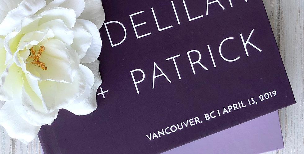 Purple Modern Wedding Guest Book, Gold Foil Wedding Guest Book