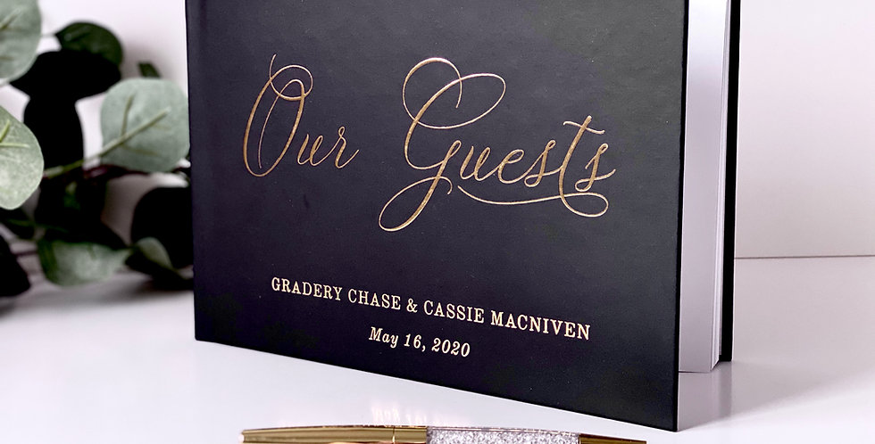 Our Guests Black and Gold Guest Book, Wedding Guestbook, Custom Guest Book