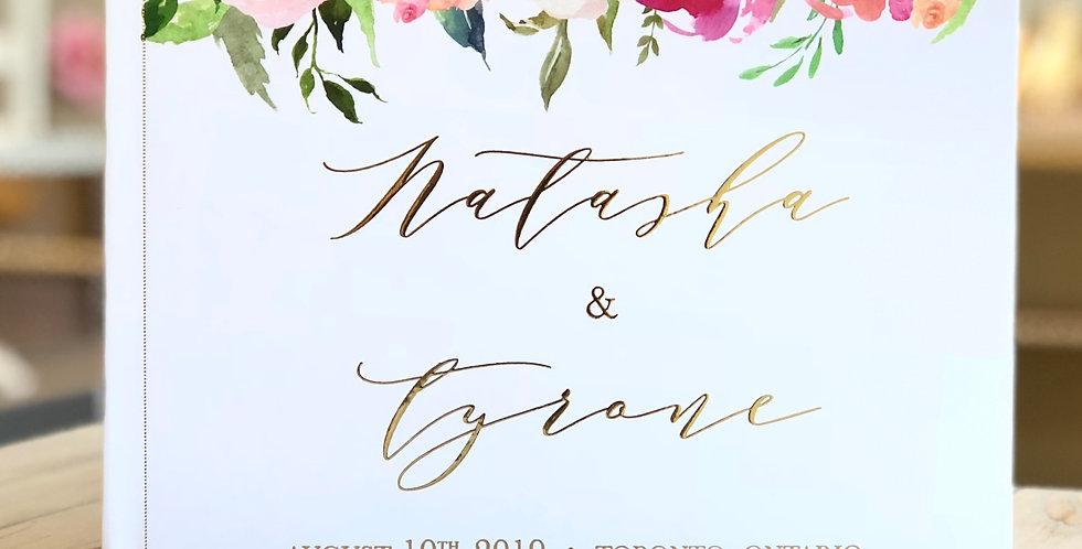 Digital Floral Wedding Guest Book, Gold Foil Wedding Guest Book