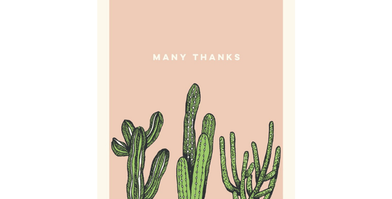 Cactus Thank you -Greeting card