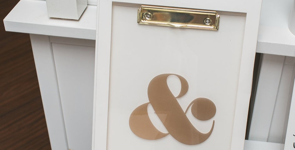 Gold Ampersand Acrylic Clipboard