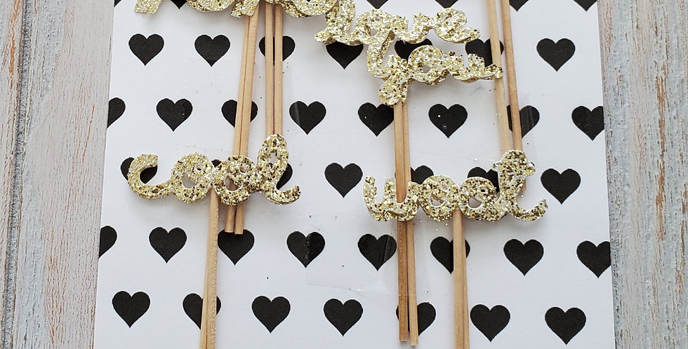"""Crazy in Love"" Glitter Cupcake Cake Toppers"